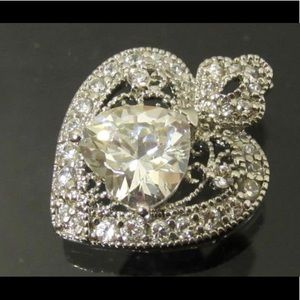 Jewelry - Vintage Sterling cubic zirconia Heart pendent.